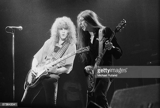 Guitarists Brian Robertson and Scott Gorham performing with Irish rock group Thin Lizzy 12th July 1976