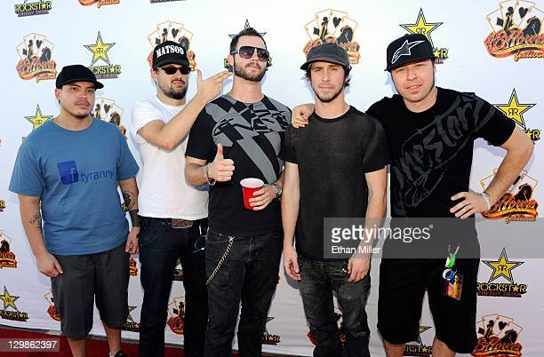 """Guitarists Brian Vodinh and Ryan """"Tater"""" Johnson, bassist Lewis Cosby, singer Jesse Hasek and drummer Matt Brown of the band 10 Years arrive at the..."""