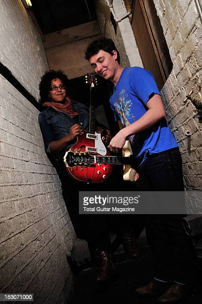 Guitarists Brittany Howard and Heath Fogg of blues rock band Alabama Shakes backstage at the Boston Arms on February 24 2012 in London