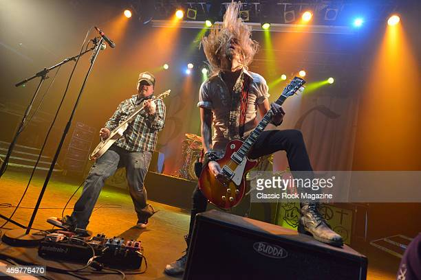 Guitarists Chris Robertson and Ben Wells of American rock group Black Stone Cherry performing live on stage at KOKO in London on February 28 2014