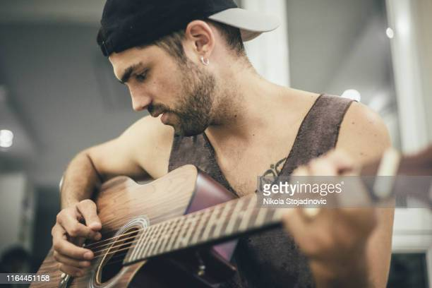 guitarists close up - stubble stock pictures, royalty-free photos & images