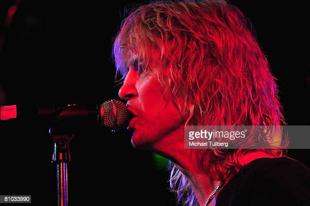 Guitarists Duff McKagan of Velvet Revolver performs with allstar cover band Camp Freddy at the Roxy nightclub on May 8 2008 in Los Angeles California