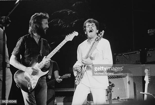 Guitarists Eric Clapton and Carlos Santana during a US tour 1st July 1975 Santana is Clapton's support act