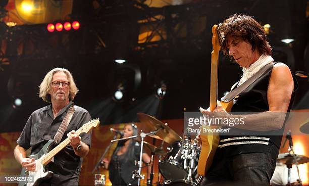 Guitarists Eric Clapton and Jeff Beck performs onstage during the 2010 Crossroads Guitar Festival at Toyota Park on June 26 2010 in Bridgeview...