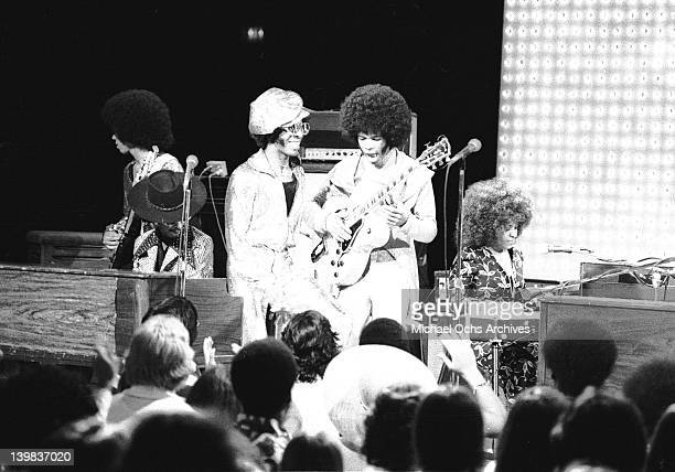 Guitarists Freddie Stone and Sly Stone of the psychedelic soul group 'Sly And The Family Stone' performs on the TV show 'The Midnight Special'in 1971...