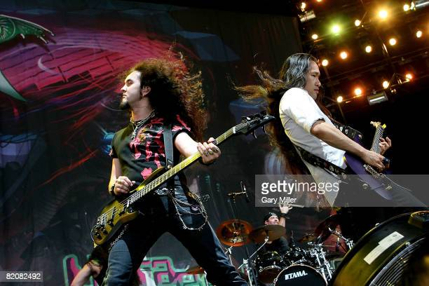 Guitarists Frederic Leclercq and Herman Li of Dragonforce performs during the Rockstar Energy Mayhem Festival at the Verizon Wireless Amphitheater on...