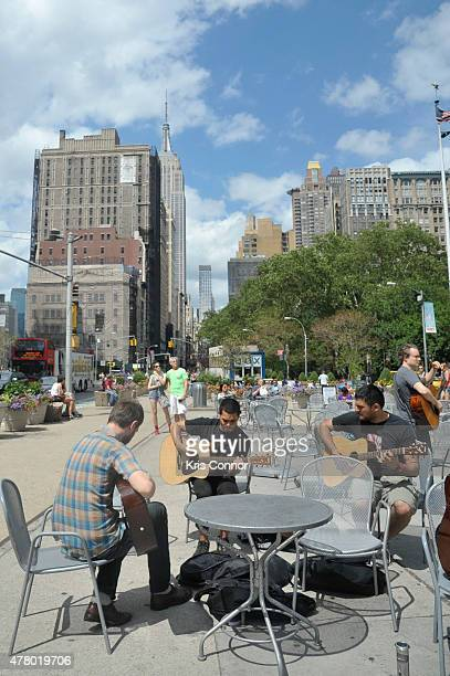 Guitarists give free guitar lessons at Flatiron Plaza during Make Music Day 2015 on June 21 2015 in New York City