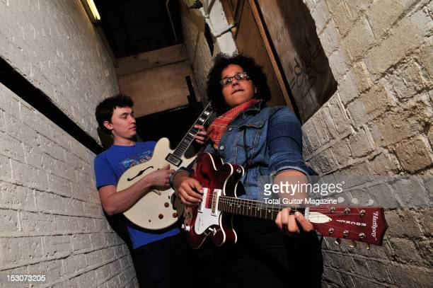 Guitarists Heath Fogg and Brittany Howard of blues rock band Alabama Shakes backstage at the Boston Arms on February 24 2012 in London