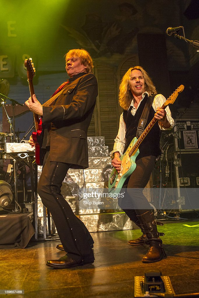 Guitarists James Young and Tommy Shaw of the band Styx performs at the House of Blues on January 17, 2013 in New Orleans, Louisiana.