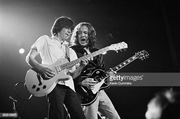 Guitarists Jimmy McCulloch and Steve Marriott of Small Faces perform on stage at the Apollo in Manchester England on September 14 1977