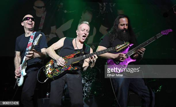 Guitarists Joe Satriani Phil Collen and John Petrucci perform as part of the G3 concert tour at Brooklyn Bowl Las Vegas at The Linq Promenade on...