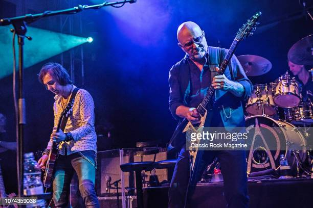 Guitarists Mark Abrahams and Andy Powell of English rock group Wishbone Ash performing live on stage at the O2 Academy Islington in London on October...