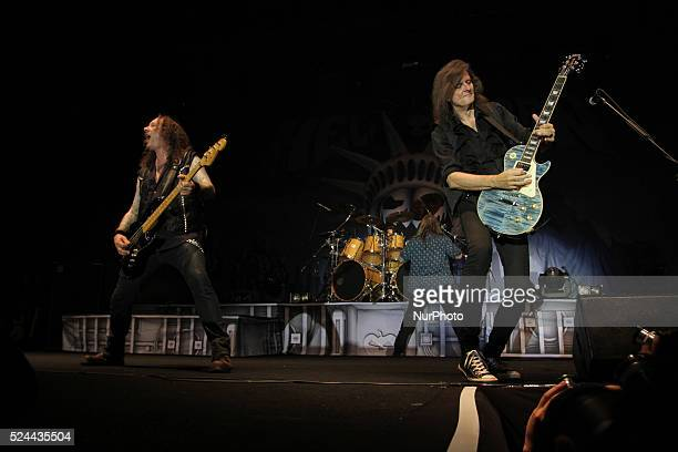 guitarists Michael Weikath and bassist Markus Grosskopf on October 22 2015 Power metal band from Hamburg Northern Germany Helloween perform live in...