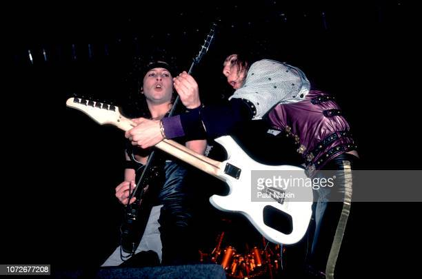 Guitarists Michael Wilton, left, and Chris Degarmo of Queensryche at the Milwaukee Arena in Milwaukee, Wisconsin, December 30, 1984.