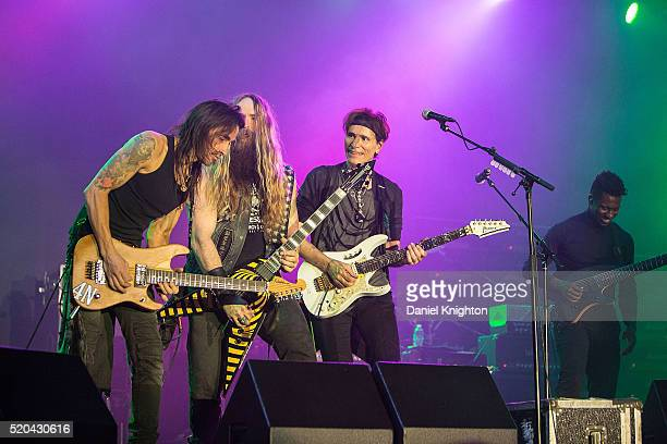 Guitarists Nuno Bettencourt, Zakk Wylde, Steve Vai, and Tosin Abasi of Generation Axe perform on stage at Humphrey's on April 10, 2016 in San Diego,...