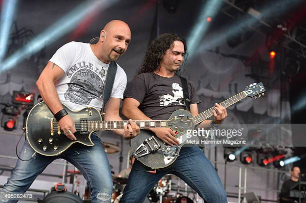Guitarists Oliver Hartmann and Sascha Paeth of German power metal group Avantasia performing live on stage at Bloodstock Open Air festival in...