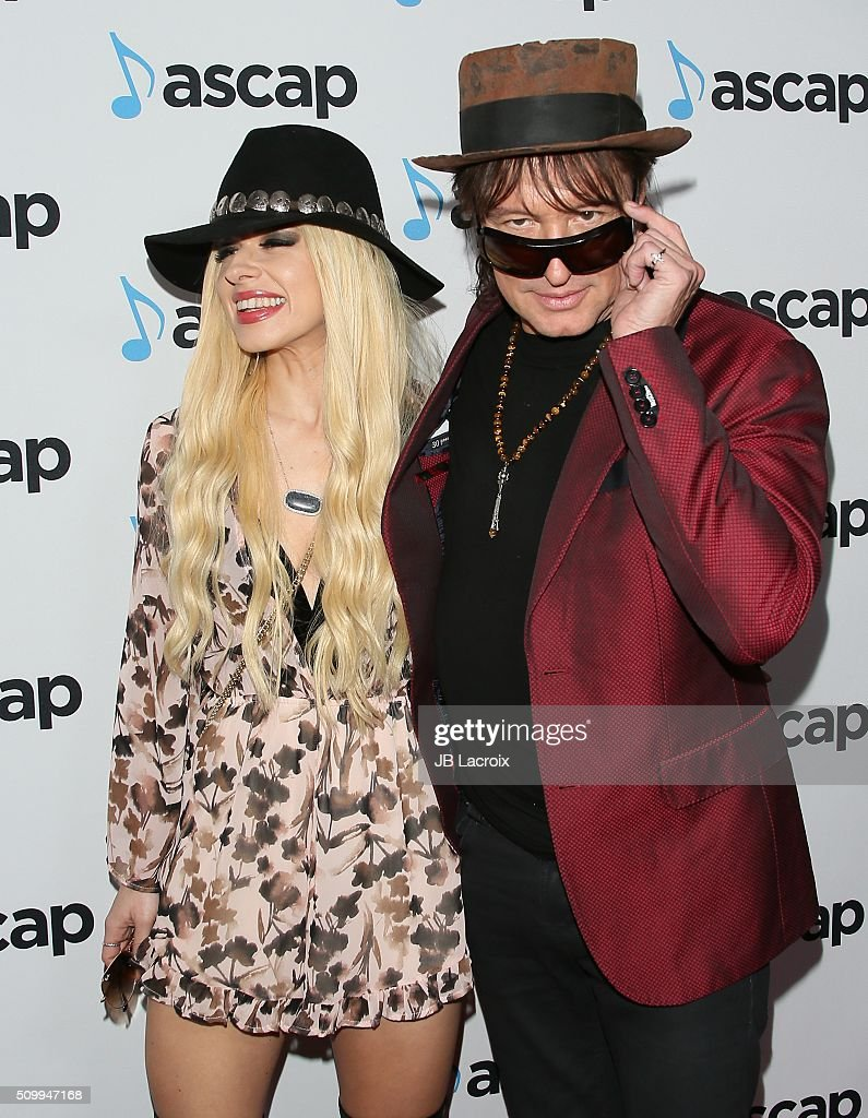 Guitarists Orianthi (L) and Richie Sambora attend the ASCAP GRAMMY Nominee Cocktail Soiree at SLS Hotel on February 12, 2016 in Los Angeles, California.