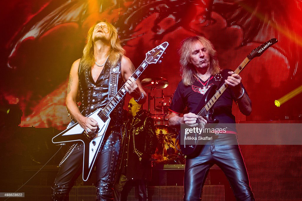 Guitarists Richie Faulkner (L) and Glenn Tipton (R) of Judas Priest perform at The Warfield Theater on October 20, 2015 in San Francisco, California.