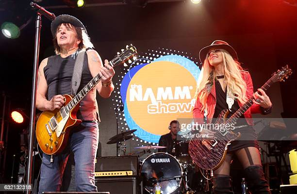 Guitarists Richie Sambora and Orianthi of RSO perform onstage during the 2017 NAMM Show Opening Day at Anaheim Convention Center on January 19 2017...