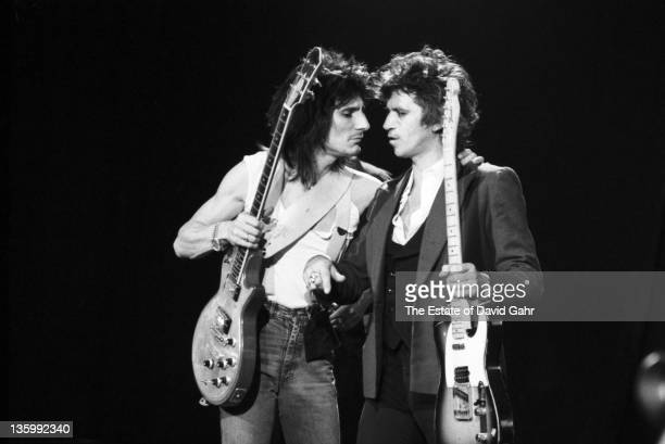 Guitarists Ron Wood and Keith Richards of The Rolling Stones during a rehearsal at SIR Studios on June 30 1981 in New York City New York