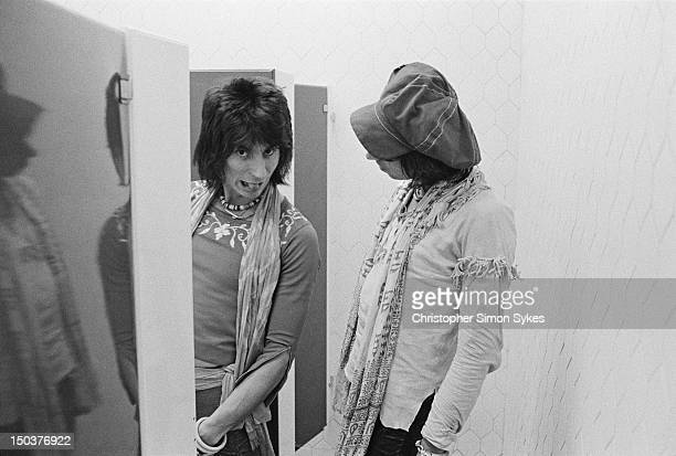Guitarists Ron Wood and Keith Richards of the Rolling Stones backstage during the group's 1975 Tour of the Americas
