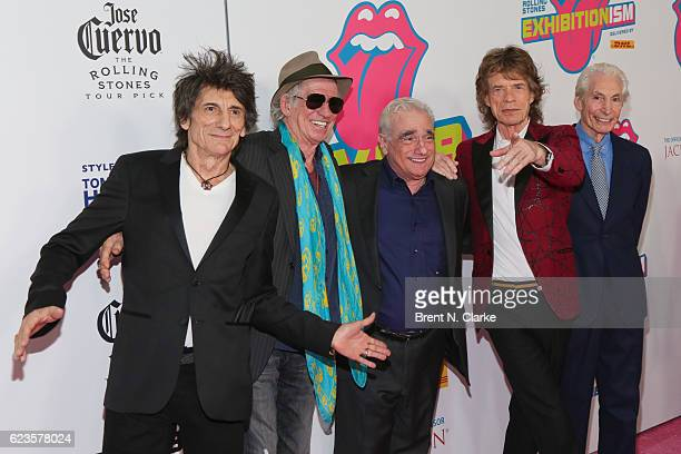 Guitarists Ronnie Wood Keith Richards director Martin Scorsese singer Mick Jagger and drummer Charlie Watts attend The Rolling Stones Exhibitionism...