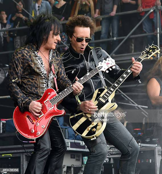 Guitarists Steve Stevens and Billy Morrison perform with Billy Idol at the Lands End Stage during day 2 of the 2015 Outside Lands Music And Arts...