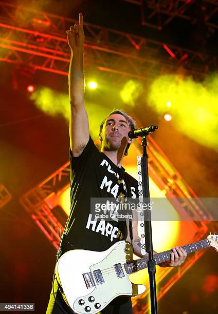 Guitarist/singer Alex Gaskarth of All Time Low performs at the Downtown Las Vegas Events Center on October 24 2015 in Las Vegas Nevada