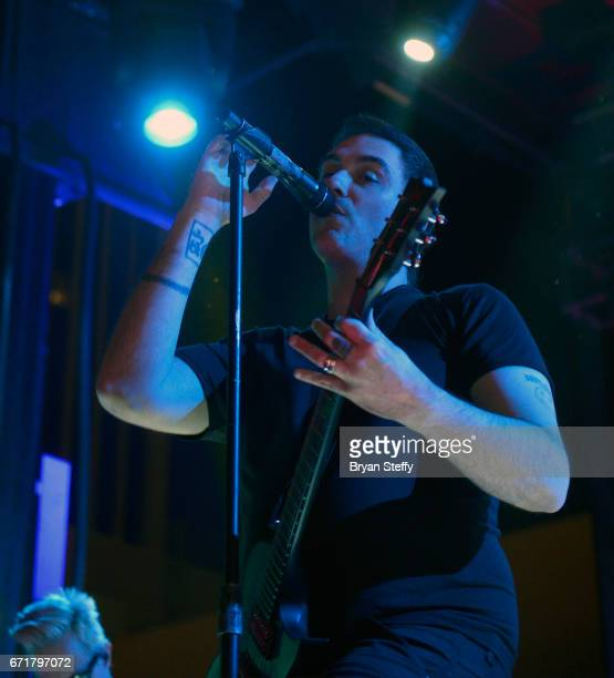 Guitarist/singer Benjamin Burnley of Breaking Benjamin performs during the Las Rageous music festival at the Downtown Las Vegas Events Center on...