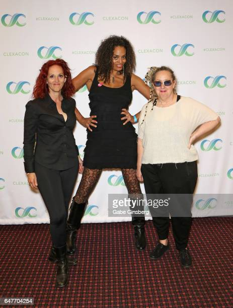 Guitarist/singer Elizabeth Ziff bassist/singer Alyson Palmer and cellist/singer Amy Ziff of BETTY attend the ClexaCon 2017 convention at Bally's Las...