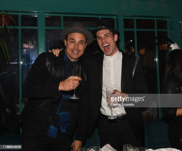 Guitarist/songwriter of The Fray Joe King and actor Tanner Novlan attend Mayfair Supper Club during its debut on New Years Eve at Bellagio Las Vegas...