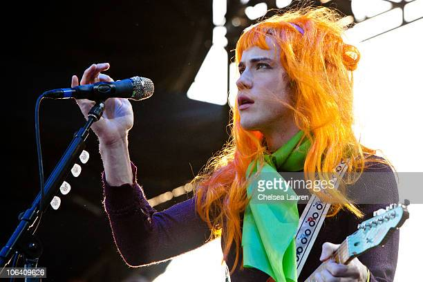 Guitarist/vocalist Andrew VanWyngarden of MGMT performs at the 2010 Voodoo Experience on October 31 2010 in New Orleans Louisiana