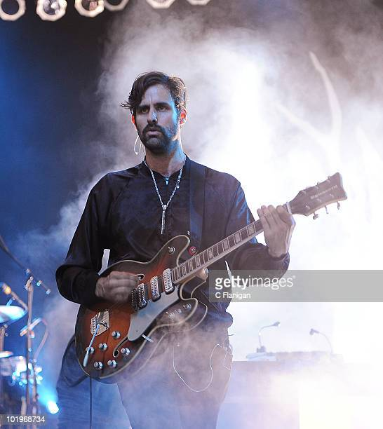 Guitarist/Vocalist Andrew Wyatt of Miike Snow performs during day 1 of the Bonnaroo Music and Arts Festival at the Bonnaroo Festival Grounds on June...