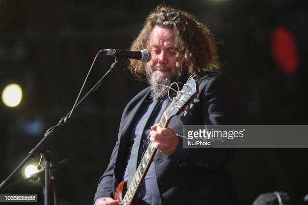 Guitarist/vocalist Malcom Lacrouts from the French band Inspector Cluzo performs on stage during the Festival of Humanity a political event and music...