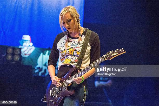 Guitarist/vocalist Nita Strauss performs on stage during sound check for Alice Cooper's Christmas Pudding charity concert at Comerica Theatre on...