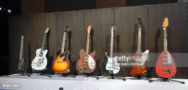 Guitars are displayed at the farewell meeting for late musician Hiroshi Kamayatsu on May 2, 2017 in Tokyo, Japan.