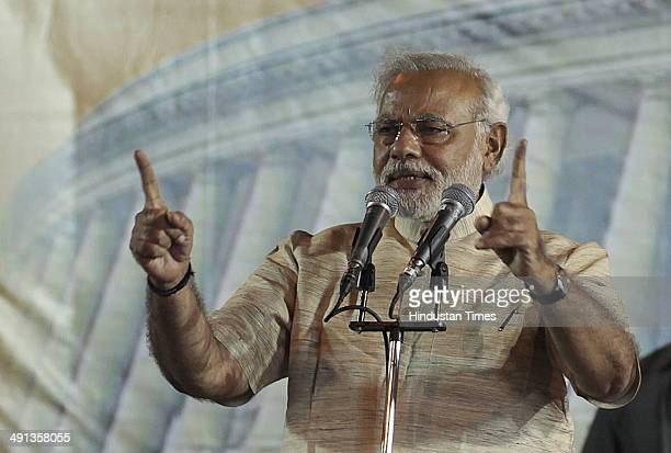 Gujarat Chief Minister and Prime Minister Candidate Narandra Modi addressing Vijayutsav rally after winning a thumping majority in Lok Sabha polls at...