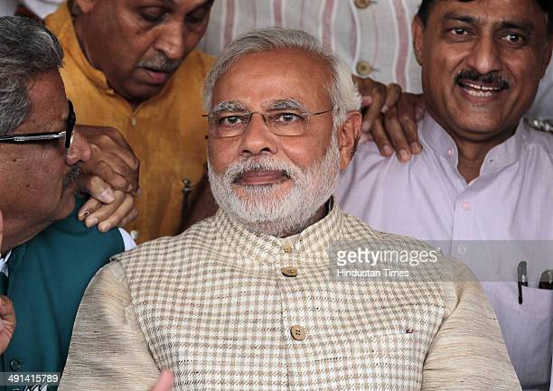 Gujarat Chief Minister and Prime Minister Candidate Narendra Modi at Party headquarters after winning a thumping majority in Lok Sabha polls at...
