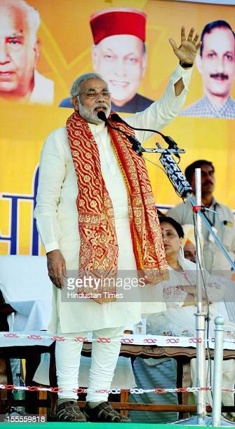 Gujarat Chief Minister Narender Modi addressing an election rally on October 29 2012 in Kangra India Elections of Himachal Pradesh state assembly are...