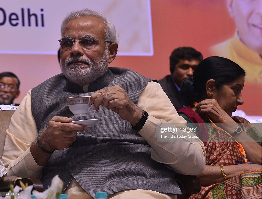 Gujarat Chief Minister Narendra Modi at BJP's 2-day national council meeting on Sunday, March 03, 2013.