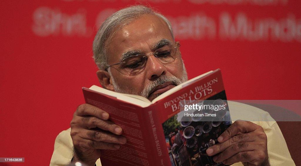 Narendra Modi During The  Launch Of Book Beyond A Billion Ballots : News Photo