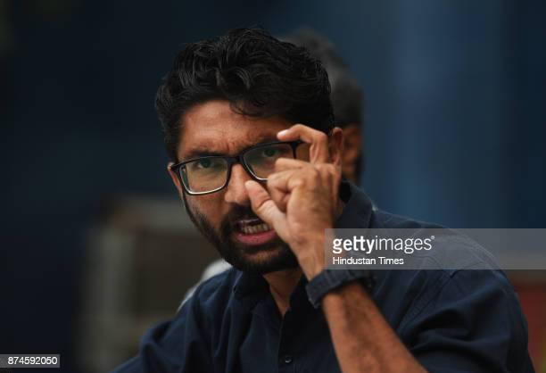 Gujarat Dalit leader Jignesh Mewani during the press conference at press club on November 15 2017 in New Delhi India Dalit leader Jignesh Mevani...