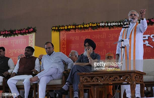 Gujarat state Chief Minister Narendra Modi addresses the crowds as Punjab state Chief Minister Prakashsingh Badal Leader of opposition Rajya Sabha...