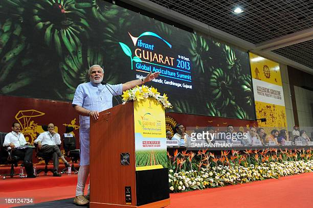 Gujarat state Chief Minister Narendra Modi speaks during the Vibrant Gujarat 2013 Global Agriculture summit at Mahatma Mandir in Gandhinagar some 30...