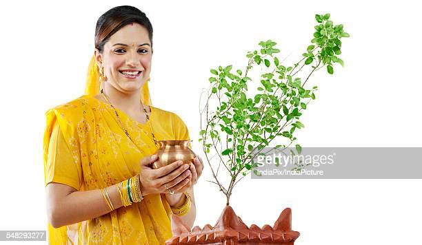 Gujarati woman performing a ritual