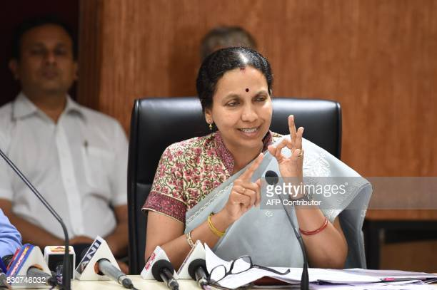 Gujarat's Commissioner of Health Medical Services and Medical Education Dr Jayanti Ravi briefs the media about the Swine flu at the Circuit House in...
