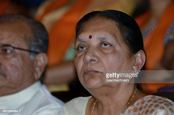 Gujarat's first woman chief minister Anandiben Patel looks on at the Town Hall in Gandhinagar some 30 kms from Ahmedabad on May 21 2014 Anandiben...