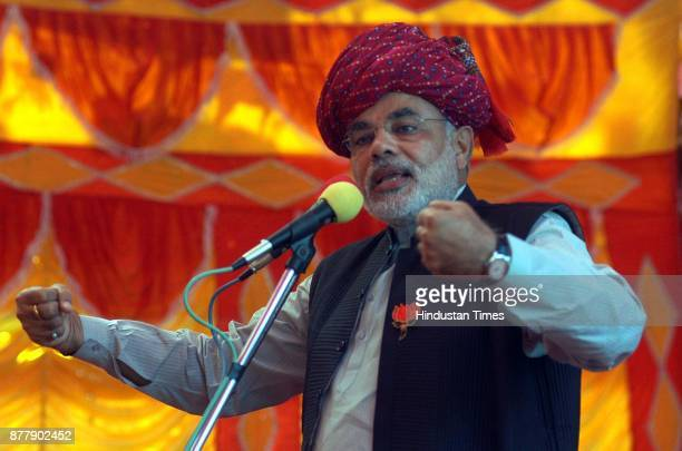 Gujrat Chief Minister Narender Modi addressing an election rally at Ahwa in district Dangs in South Gujarat 400Kms from Ahmedabad on December 2 2007