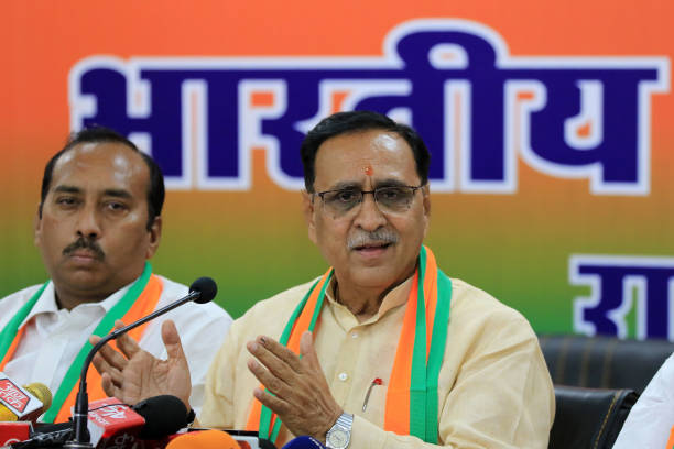 Gujrat Chief Minister Vijay Rupani addressing the media person during the press conference at BJP office in Jaipur ,Rajasthan, India on May 2, 2019.