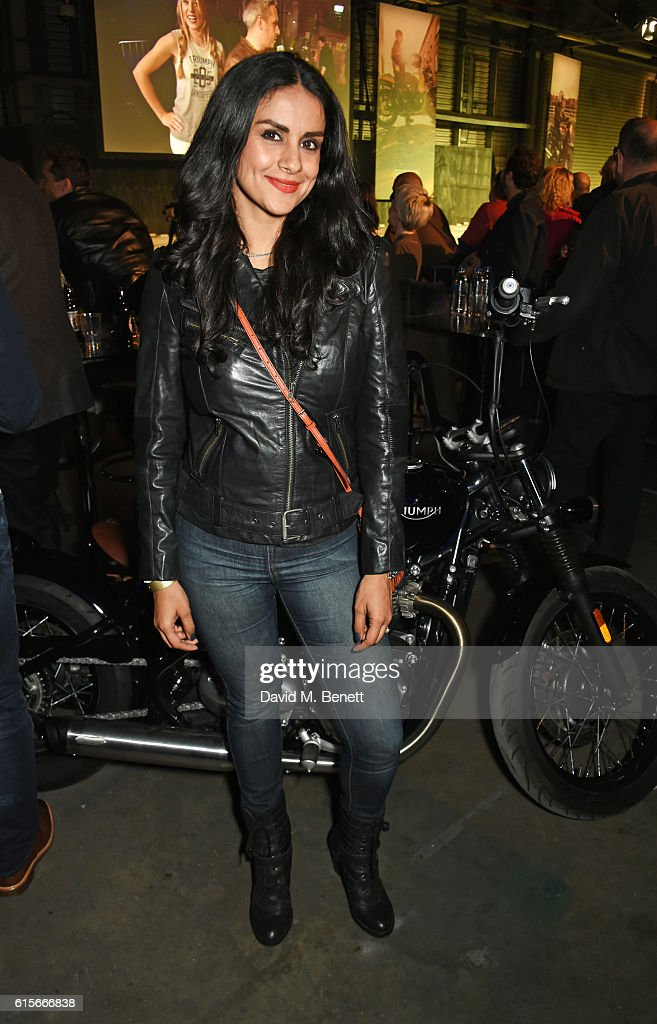 Gul Panag attends the Global VIP Reveal of the new Triumph Bonneville Bobber on October 19, 2016 in London, England.